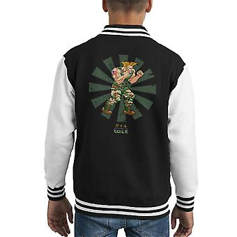 Guile Street Fighter Retro Japanese Kid's Varsity Jacket