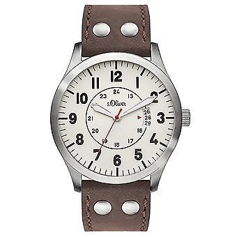 s.Oliver homme montre cuir montre-bracelet SO-3265-LQ