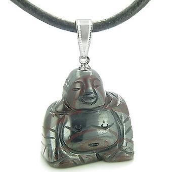 Held og lykke charme glad siddende Buddha Amulet Tiger jern Gemstone beskyttelse vedhæng Cord halskæde
