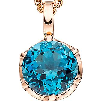 Pendentifs autour 585 or rose or 1 bleu pendentif bleu bleu topaze London gold