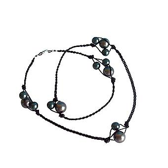 Pearl Leather necklace 925 necklace Tahitian grey silver ANNABELLE