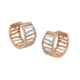 Creole 12x6mm hinged flip top of bicolor pursuit diamond 9Kt rose gold