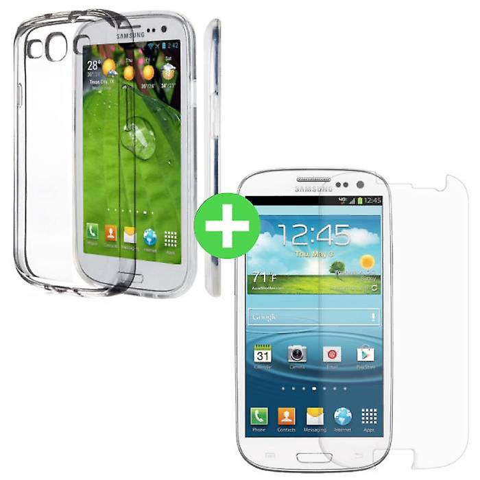 Stuff Certified® Samsung Galaxy S3 Transparent TPU Case + Screen Protector Tempered Glass