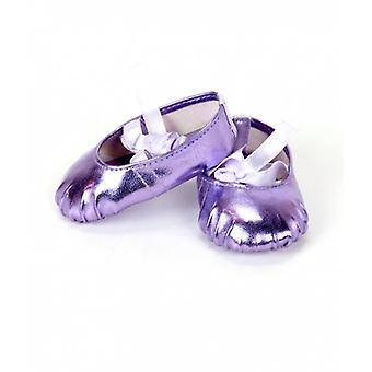 "18"" Puppe Kleidung metallischen Ballerina Hausschuhe, Lavendel"