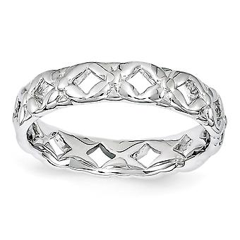 4.5mm 925 Sterling Silver Polished Patterned Rhodium plated Stackable Expressions Carved Ring Jewelry Gifts for Women -