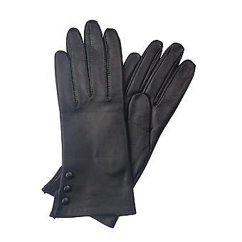 Beatrice Button Detail Leather Gloves in Black