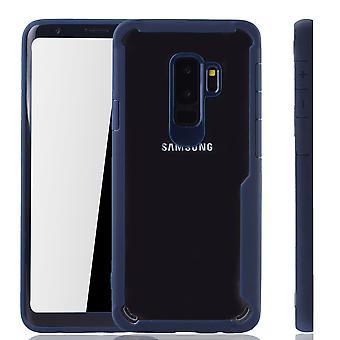 Pokrycie niebieski premium Samsung Galaxy S9 plus w wersji hybrydowej. Obsługuje bezprzewodowe ładowanie | czysty akryl z miękkiego silikonu pierścień niebieski