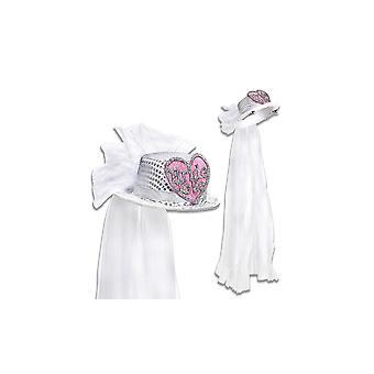 Braut zu sein Herz Pailletten Hut mit Brautschleier