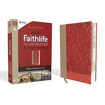 NKJV - Faithlife illustrerade Study Bible - läderimitation - rosa-