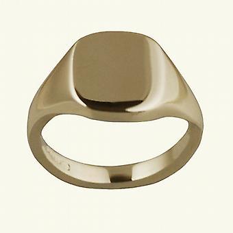 9ct Gold 12x10mm tömör sima párna Signet Ring size S