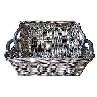 Set of 2  Antique Wash Wicker Tray with Wooden Handle