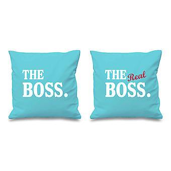 "The Boss The Real Boss Aqua Cushion Covers 16"" x 16"""