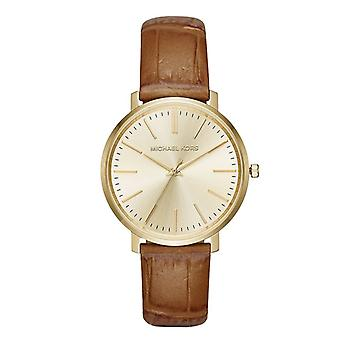 Michael Kors Womens Jaryn Rose Gold Tone Brown Leather Wrist Watch MK2496