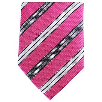 Knightsbridge Neckwear rayure diagonale régulière Polyester Tie - Rose/blanc/gris