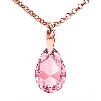 Ah! Jewellery Rose Gold Over Sterling Silver Light Rose Crystals From Swarovski Pear Necklace