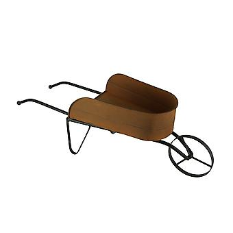 Rusty Metal Vintage Farmhouse Decorative Garden Wheelbarrow Planter Flower Cart