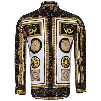 Oscar Banks Baroque Black And Gold Print Long Sleeve Mens Shirt