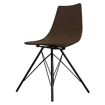 Fusion Living Iconic Coffee Plastic Dining Chair With Black Metal Legs