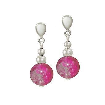 Ewige Sammlung Dominica Fuchsie Crackle Glas Bead Silber Ton Drop-Clip auf Ohrringe