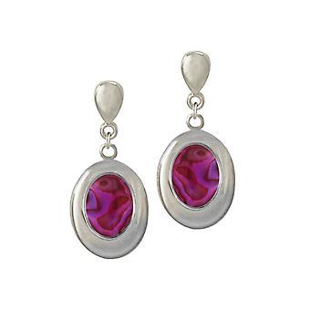 Éternelle Collection Idaho violet/Fuchsia Paua Shell fermoir goutte Clip boucles d'oreilles