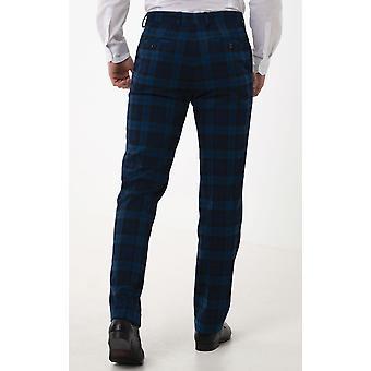 Dobell miesten sininen Tartan housut regular fit