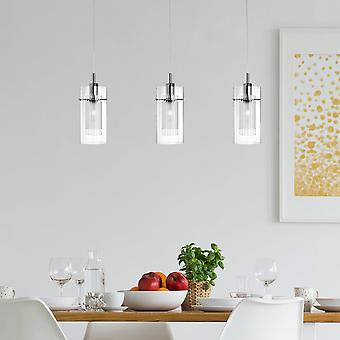 Searchlight Duo 1 Satin Silver Triple Bar Pendant With Glass Shades
