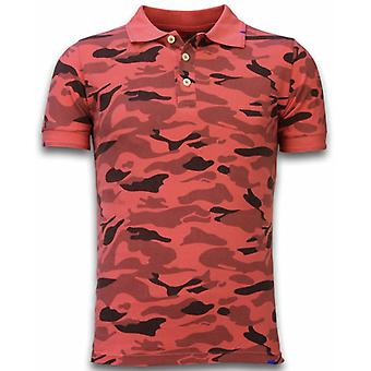 Camo Polo Shirt-Washed Camouflage-Red