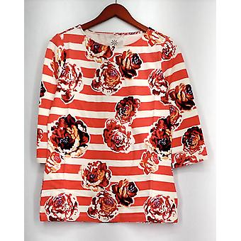 Isaac Mizrahi Live! Top Engineered Floral Stripe impreso T Coral Rosa A273645