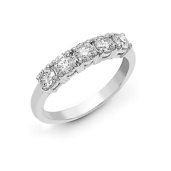 Jewelco London Solid 18ct White Gold 4 Claw Round G SI1 1ct Diamond 5 Stone Pentalogy Eternity Ring 4mm