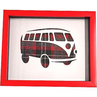 Single Campervan Box Frame Red Tweed by Laura Ann Cards