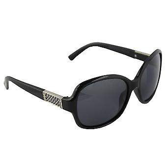 Sunglasses Women's Polaroid Oval - Silver/Black with free brillenkokerS324_1