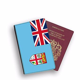 FIJI Flag Passport Holder Style Case Cover Protective Wallet Flags design