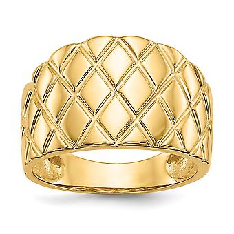 14 k Yellow Gold solide gepolijst Open rug Textured terug Marquise patroon Dome Ring - 6,0 gram