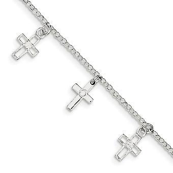 925 Sterling Ezüst Fancy Homár bezárása és CZ Cubic Cirkónia szimulált Gyémánt polírozott vallási hit Cross fiú