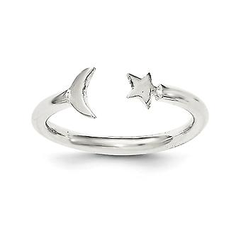 925 Sterling Silver Polished Half Celestial Moon and Star Adjustable Ring Jewelry Gifts for Women
