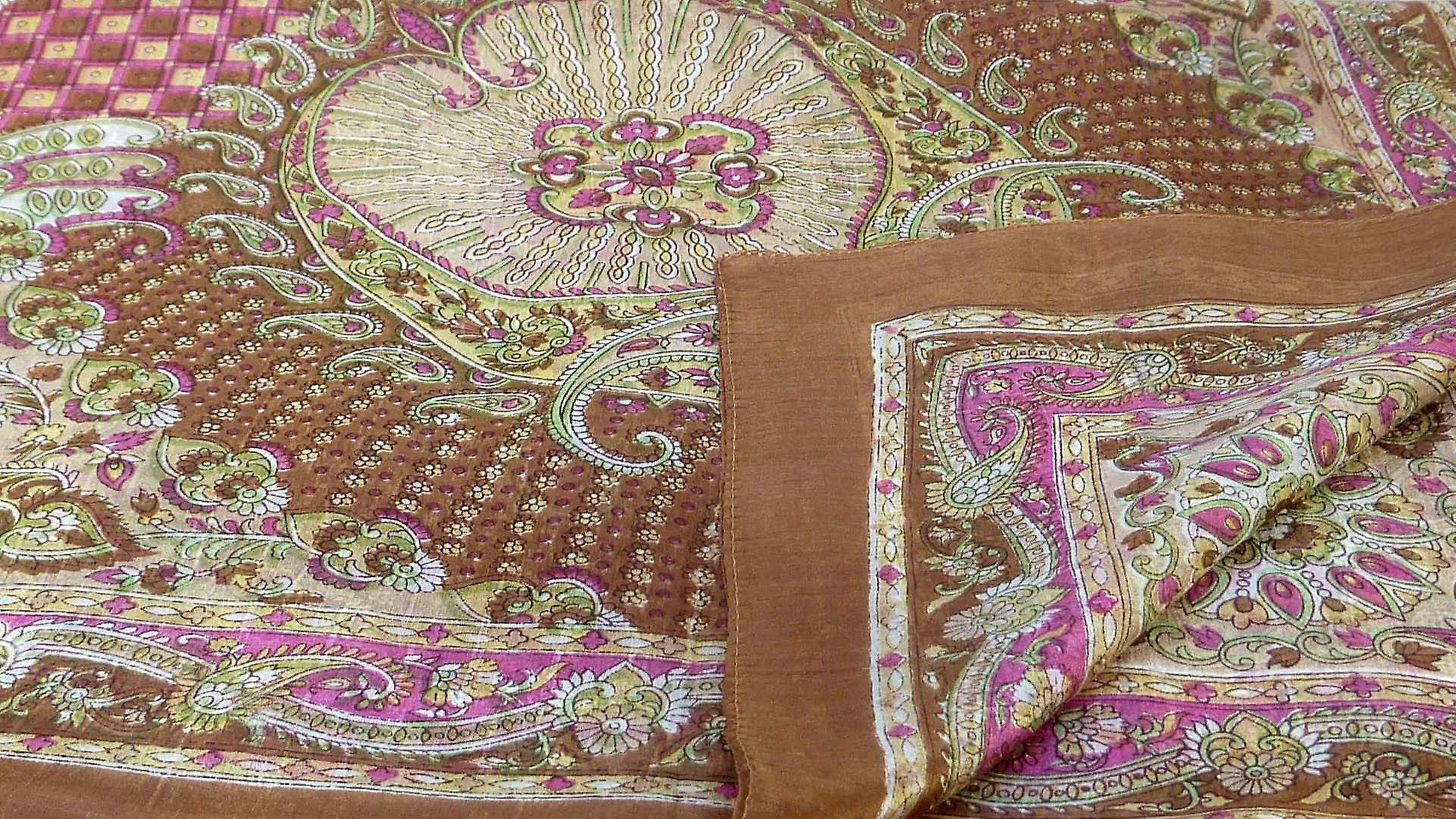 Mulberry Silk Traditional Square Scarf Omana Cestnut by Pashmina & Silk