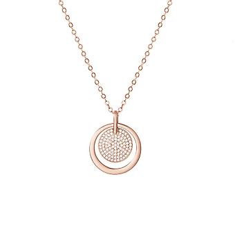 Eternal Collection Sublime Clear Crystal Rose Gold Tone Disc Pendant