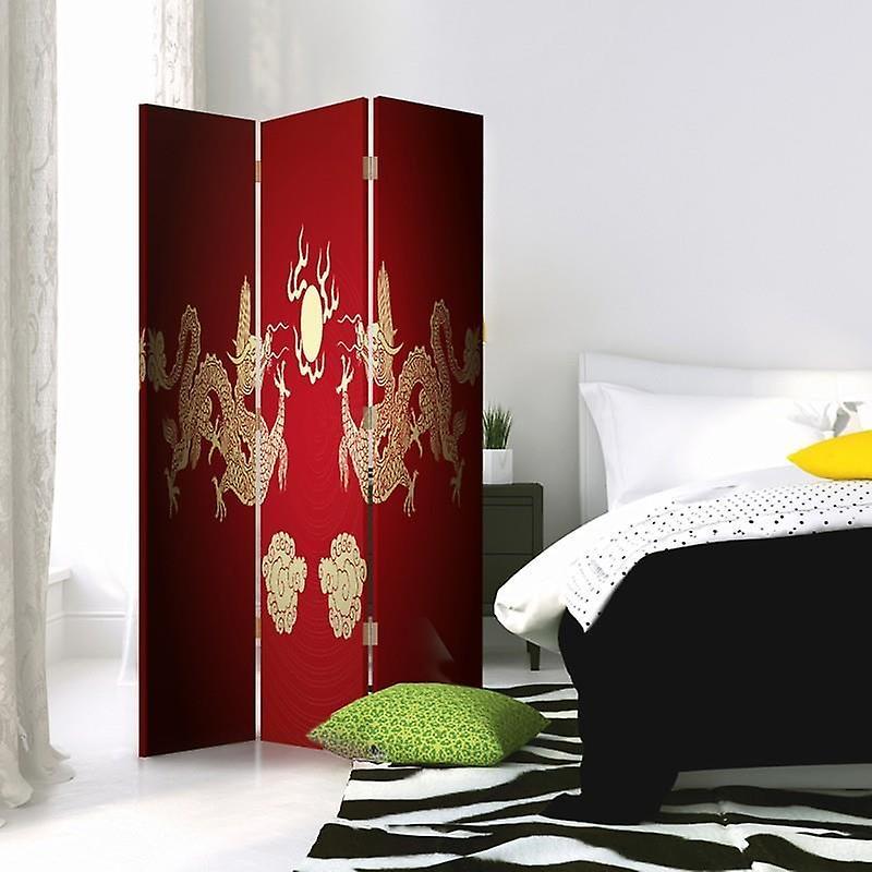 Diviseur de chambre, 3 panneaux, à un seul côté, toile, deux dragons