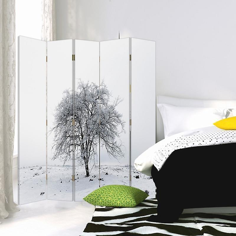 Diviseur de chambre, 5 panneaux, double-sided, toile, arbre à neige solitaire