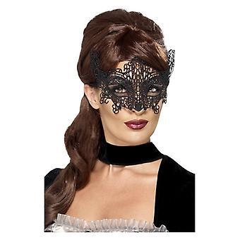 Womens zwart geborduurd Lace filigraan Swirl Eyemask Fancy Dress accessoire