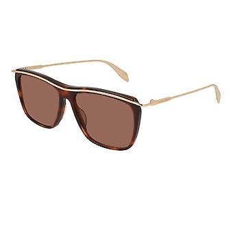 Alexander McQueen Am0143s 001 56 Edge Havanna Ruskea ja Kultainen neliö Aurinkolasit