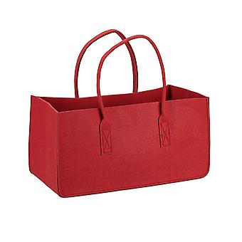 Felt bag firewood red red, made of sturdy polyester felt, with handle.