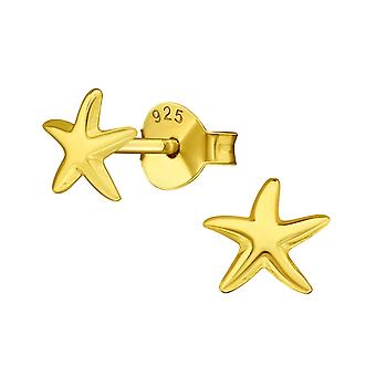 Star - 925 Sterling Silver Plain Ear Studs - W39028X