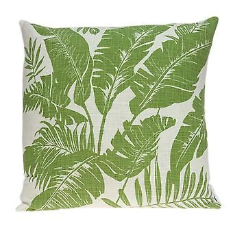 Tropical Green Palm Leaf on Beige Pillow Cover