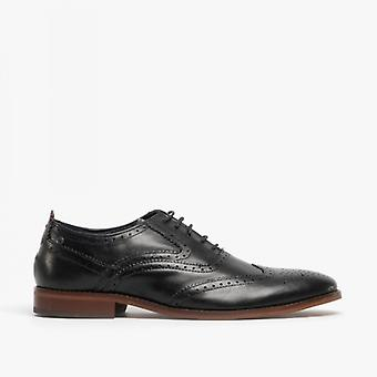 Base London Focus Mens Leather Brogue Shoes Waxy Black