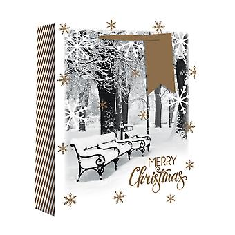 Eurowrap Christmas Gift Bags with Snowscene Design (Pack of 12)