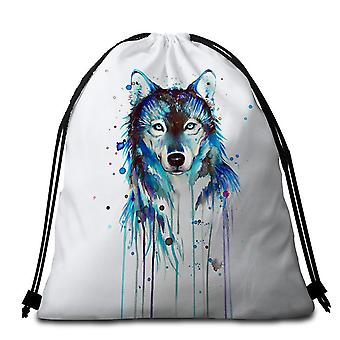 Blue Watercolor Wolf Beach Towel