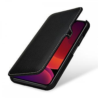 Etui Pour Iphone 11 Book Type Grainé Noir En Cuir Véritable