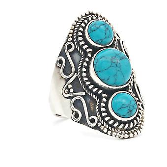Ring Silver 925 Sterling Silver Turquoise Blue Green Stone (Nr: MRI 169)