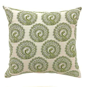 Contemporary Small Pillow With pattern Fabric, Green Finish, Set of 2